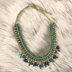 Jewelry - Bohemian gold turquoise and crystal stud necklace